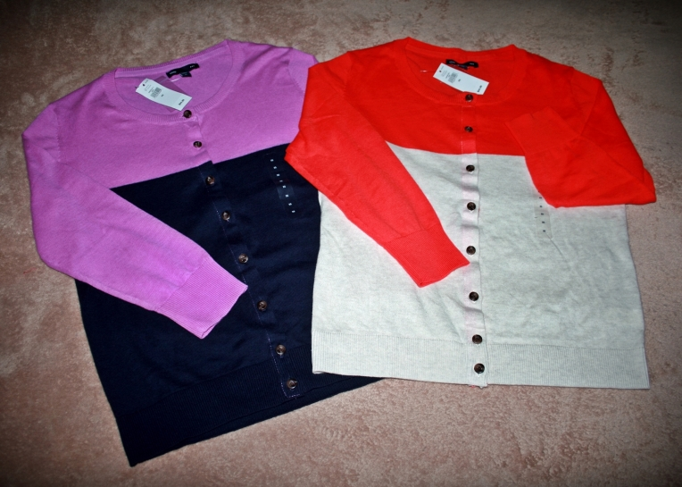 These cardigan sweaters were on sale for $12.99. The original price was $44.99.