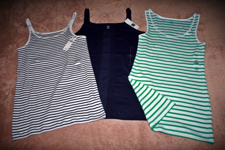These were on sale for $5.99. Both striped tank tops were originally priced at $19.99 and the navy tank top was $22.99. I had to get the green to match my green sweater! Hahahaha! :D