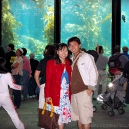 Behind us is the 28-foot-tall (8.5 m) kelp forest exhibit from the lower level.