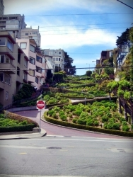 Lombard Street is an east–west street in San Francisco, California. It is famous for having a steep, one-block section that consists of eight tight hairpin turns. The street was named after Lombard Street in Philadelphia by San Francisco surveyor Jasper O'Farrell. (Wikipedia)