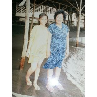 Birthday celebration with my grandma in 1990.