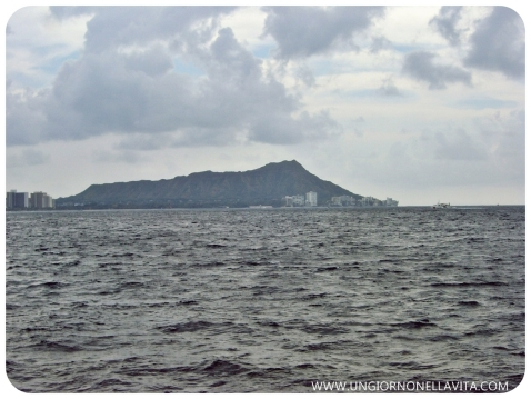 The view of Diamond Head from the sea.