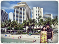 In the background are some of the many hotels along the Waikiki beach strip.