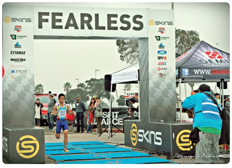 "Jose ""OHJ"" Nobles IV at Skins Fearless Triathlon finishing 1st place overall in Super Sprint."