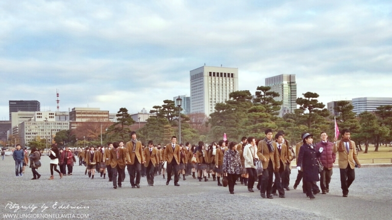 This image was taken while visiting the Imperial Palace in Tokyo almost a year ago. I believe these students were on a field trip that day. I just wondered why their field trip was on a weekend because this was on Sunday afternoon.