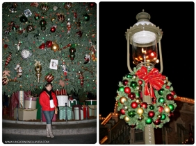 Photo op with the giant Christmas tree at Main St.