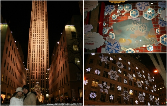 Rockefeller Center (L), Christmas window display at Macy's (U-R) and pretty snowflakes at Saks 5th Avenue.