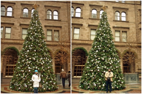 Photo op with the beautiful Christmas tree at the New York Palace Hotel.