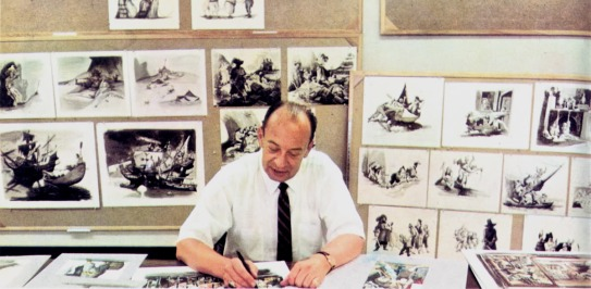 Imagineer Marc Davis, one of the geniuses behind Pirates of the Caribbean. Marc Fraser Davis (March 30, 1913 – January 12, 2000) was a prominent American artist and animator for Walt Disney Studios. He was one of Disney's Nine Old Men for his knowledge and understanding of visual aesthetics, the famed core animators of Disney animated films. (Wikipedia) Image Source: http://disneyandmore.blogspot.com/2010/04/pirates-of-caribbean-behind-scenes-part.html