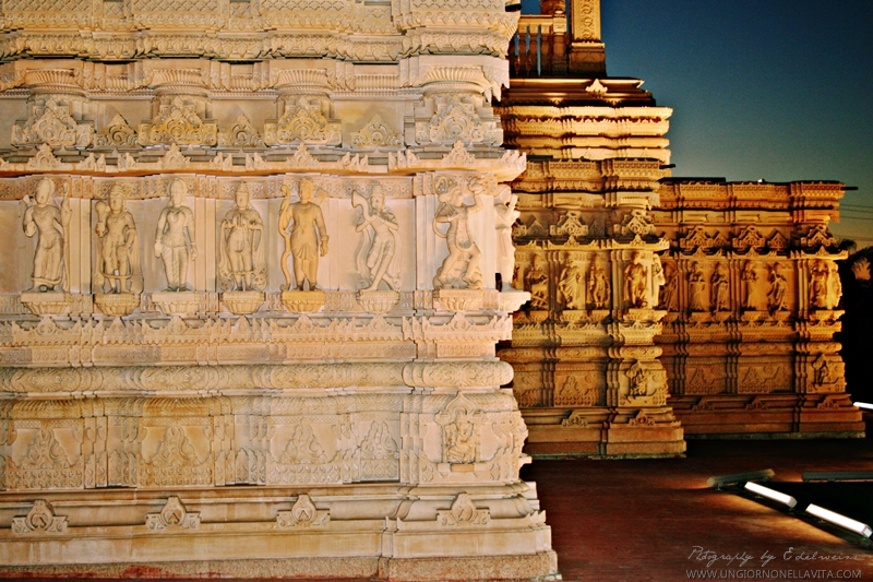 Created by artisans all the way from India, these meticulously hand carved Italian Carrera Marble and Indian Pink Sandstone are part of the 35,000 pieces that was shipped to build the BAPS Shri Swaminarayan Mandir (Hindu Temple) in Chino Hills.