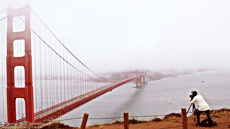 Taken a few weeks ago, pictured is the iconic Golden Gate Bridge in San Francisco enveloped with fog and mist.